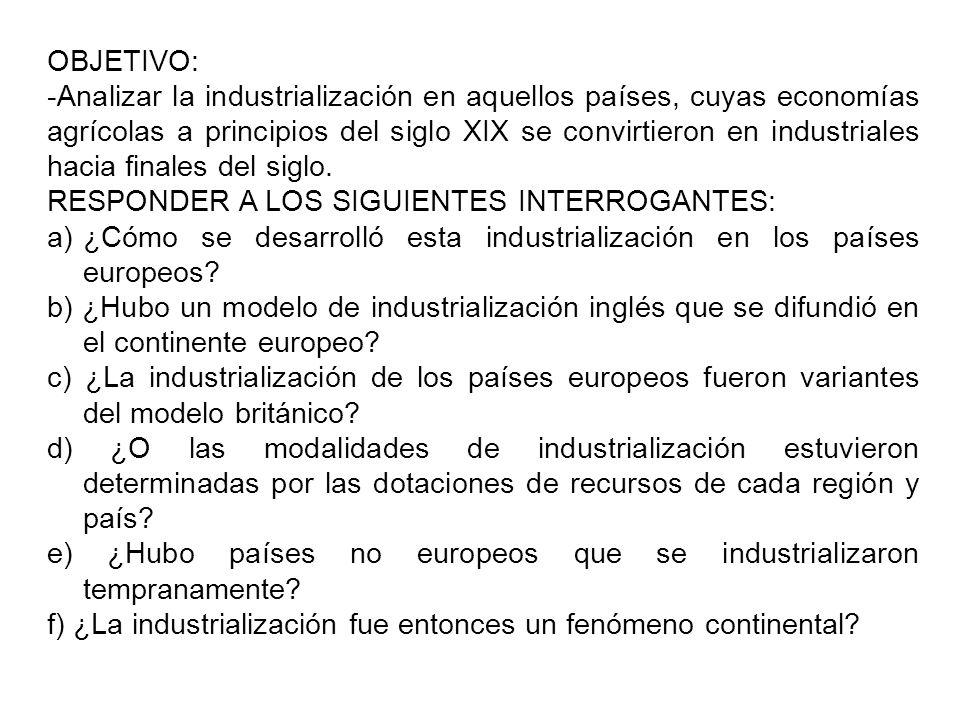OBJETIVO: -Analizar la industrialización en aquellos países, cuyas economías agrícolas a principios del siglo XIX se convirtieron en industriales haci