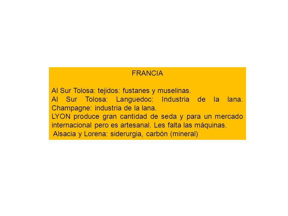 FRANCIA Al Sur Tolosa: tejidos: fustanes y muselinas. Al Sur Tolosa: Languedoc: Industria de la lana. Champagne: industria de la lana. LYON produce gr