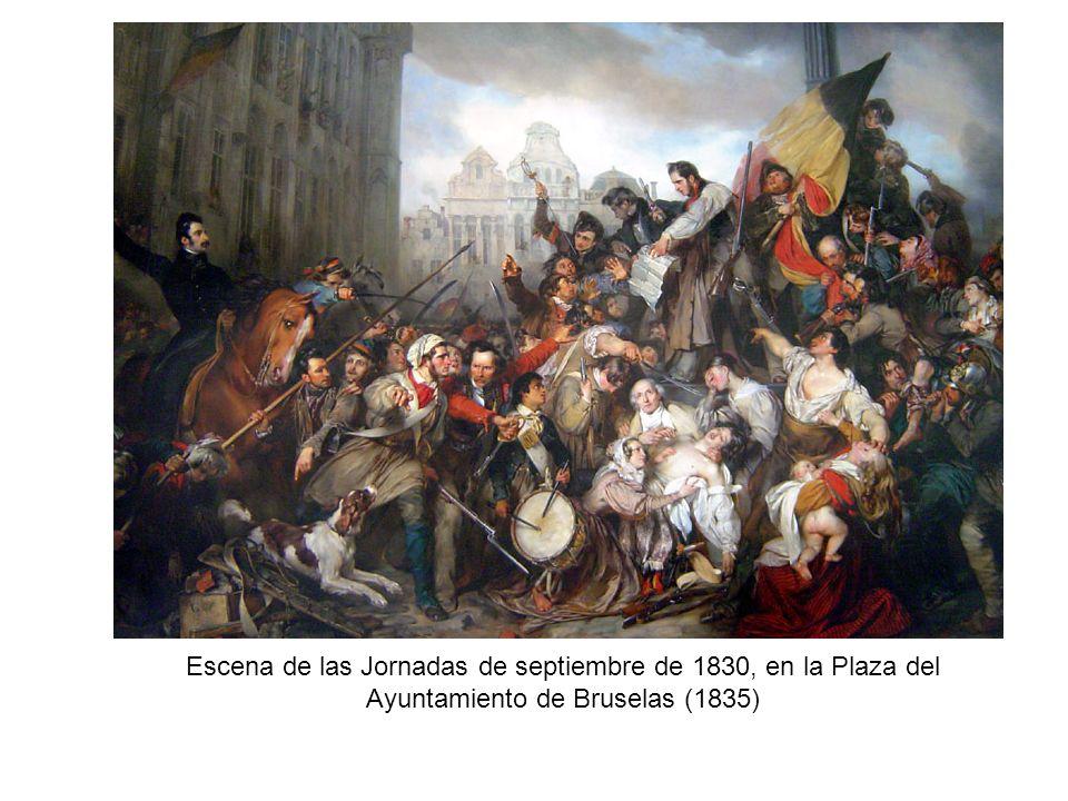 Escena de las Jornadas de septiembre de 1830, en la Plaza del Ayuntamiento de Bruselas (1835)