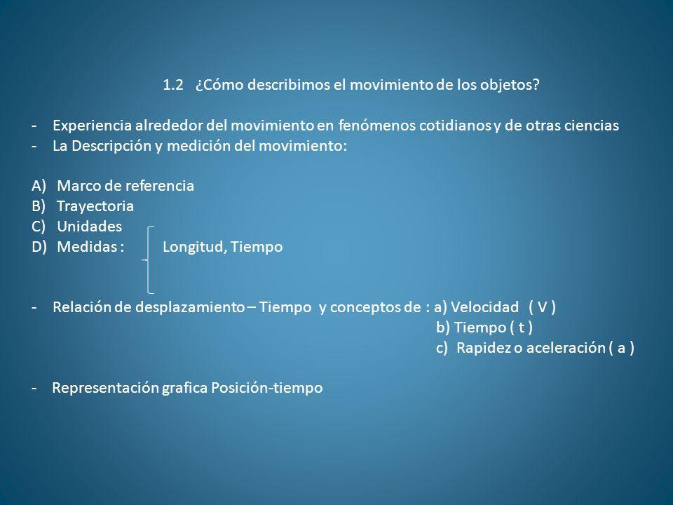 1.2 ¿Cómo describimos el movimiento de los objetos? -Experiencia alrededor del movimiento en fenómenos cotidianos y de otras ciencias -La Descripción