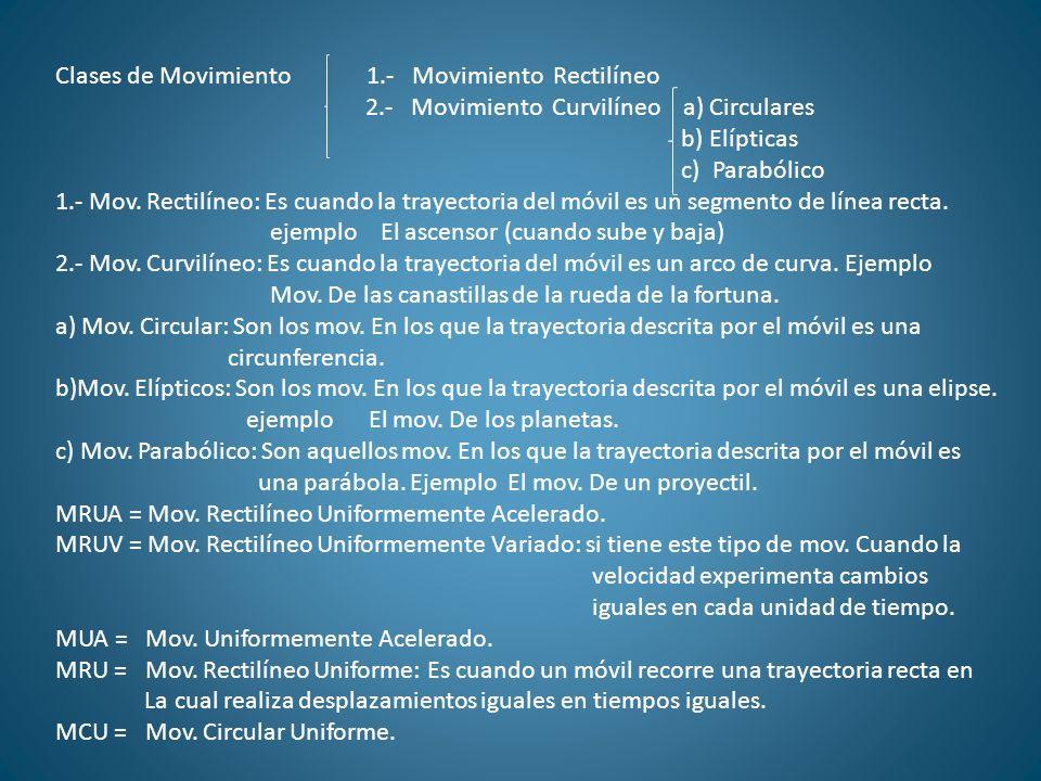 Clases de Movimiento 1.- Movimiento Rectilíneo 2.- Movimiento Curvilíneo a) Circulares b) Elípticas c) Parabólico 1.- Mov. Rectilíneo: Es cuando la tr