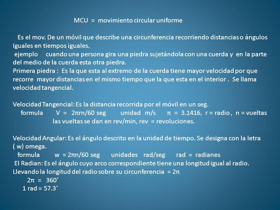 MCU = movimiento circular uniforme Es el mov. De un móvil que describe una circunferencia recorriendo distancias o ángulos Iguales en tiempos iguales.
