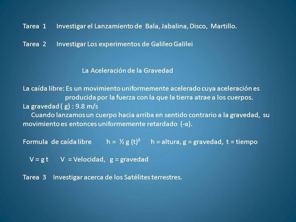 Tarea 1 Investigar el Lanzamiento de Bala, Jabalina, Disco, Martillo. Tarea 2 Investigar Los experimentos de Galileo Galilei La Aceleración de la Grav