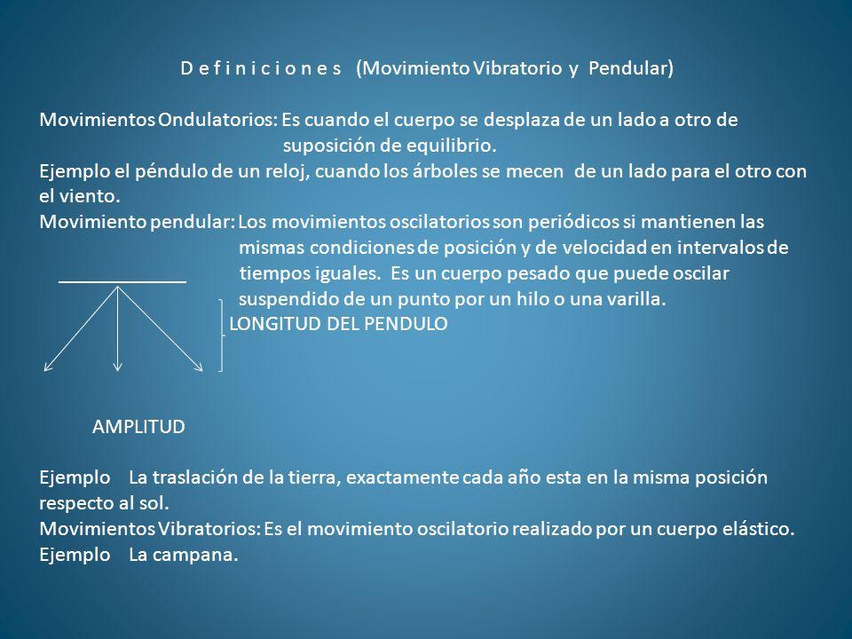 D e f i n i c i o n e s (Movimiento Vibratorio y Pendular) Movimientos Ondulatorios: Es cuando el cuerpo se desplaza de un lado a otro de suposición d