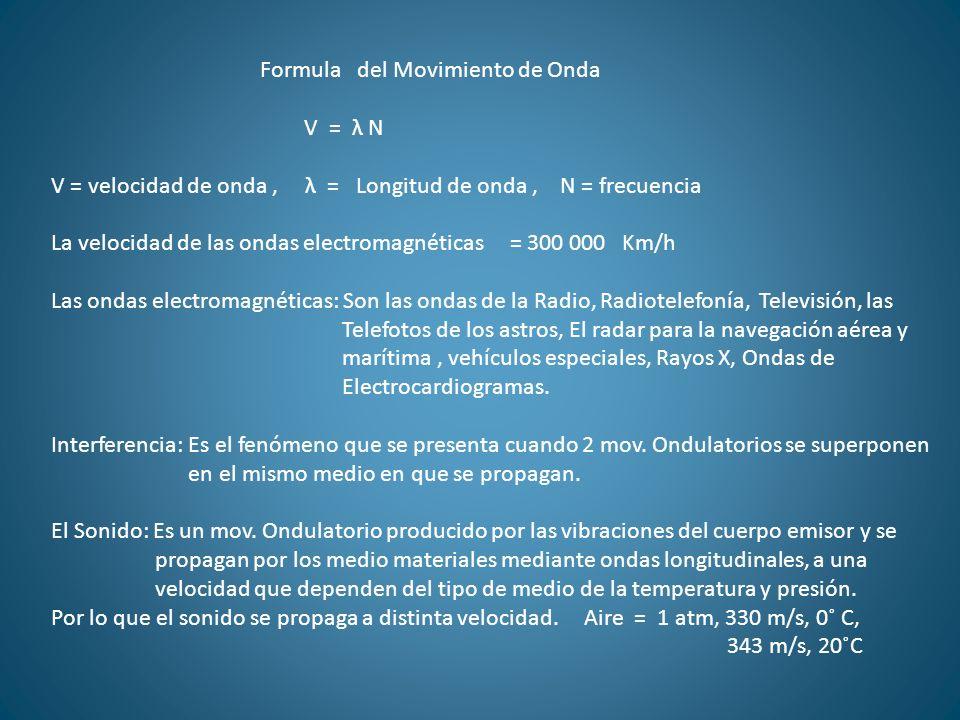 Formula del Movimiento de Onda V = λ N V = velocidad de onda, λ = Longitud de onda, N = frecuencia La velocidad de las ondas electromagnéticas = 300 0