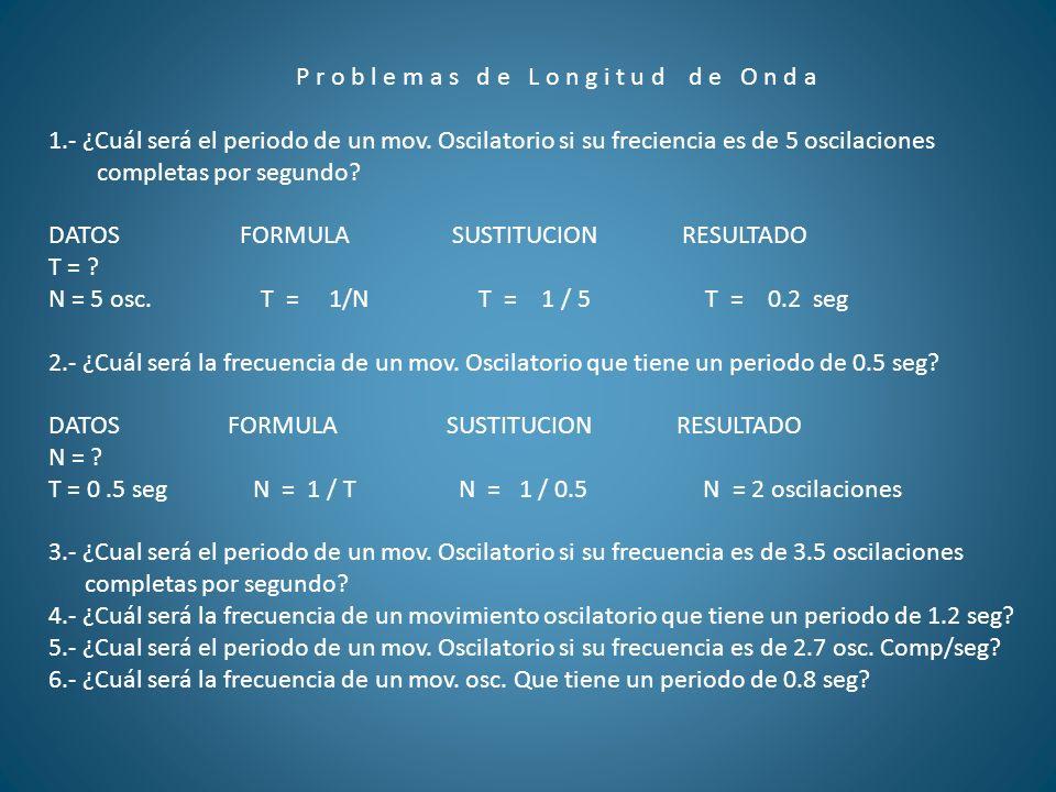 P r o b l e m a s d e L o n g i t u d d e O n d a 1.- ¿Cuál será el periodo de un mov. Oscilatorio si su freciencia es de 5 oscilaciones completas por