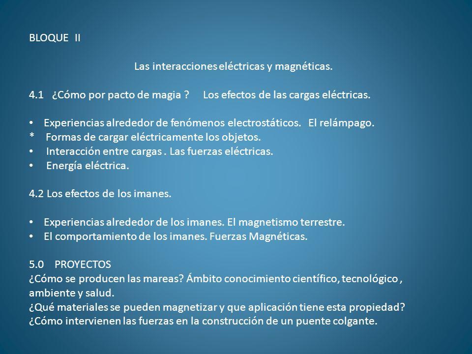 BLOQUE II Las interacciones eléctricas y magnéticas. 4.1 ¿Cómo por pacto de magia ? Los efectos de las cargas eléctricas. Experiencias alrededor de fe