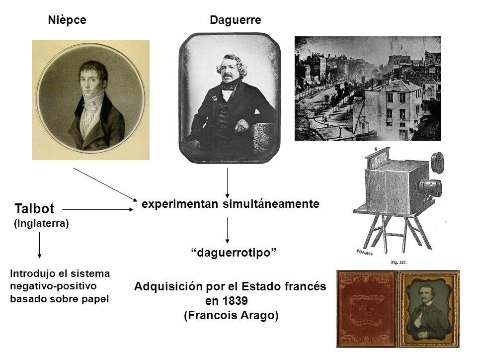 NièpceDaguerre experimentan simultáneamente daguerrotipo Adquisición por el Estado francés en 1839 (Francois Arago) Talbot (Inglaterra) Introdujo el s
