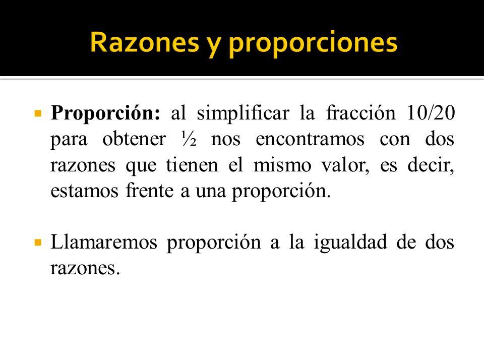 Proporción: al simplificar la fracción 10/20 para obtener ½ nos encontramos con dos razones que tienen el mismo valor, es decir, estamos frente a una