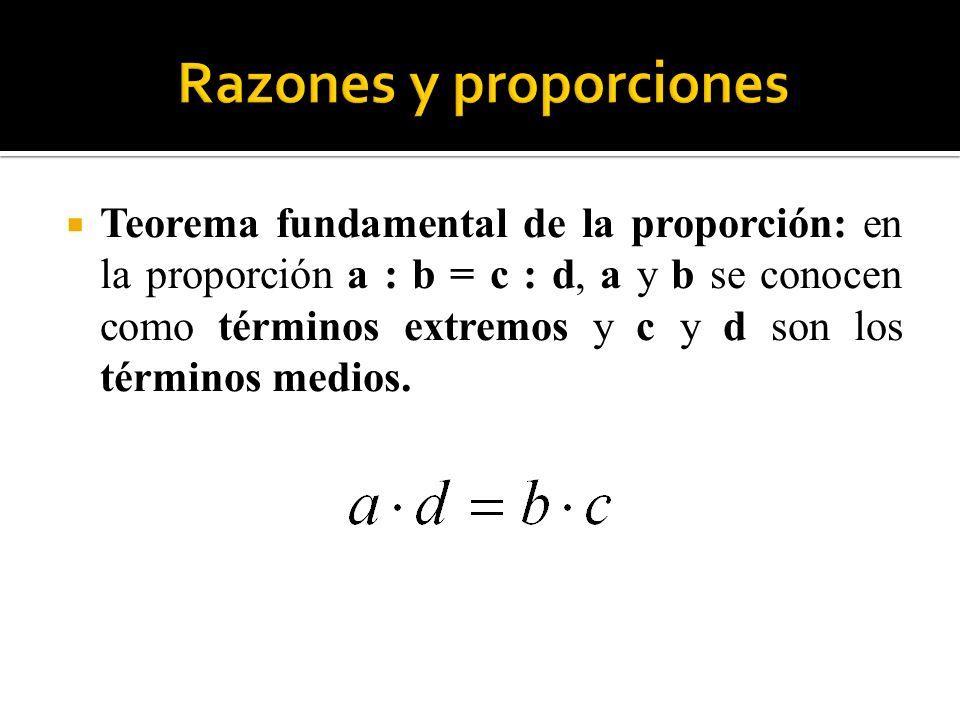Teorema fundamental de la proporción: en la proporción a : b = c : d, a y b se conocen como términos extremos y c y d son los términos medios.