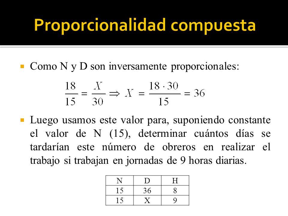 Como N y D son inversamente proporcionales: Luego usamos este valor para, suponiendo constante el valor de N (15), determinar cuántos días se tardaría