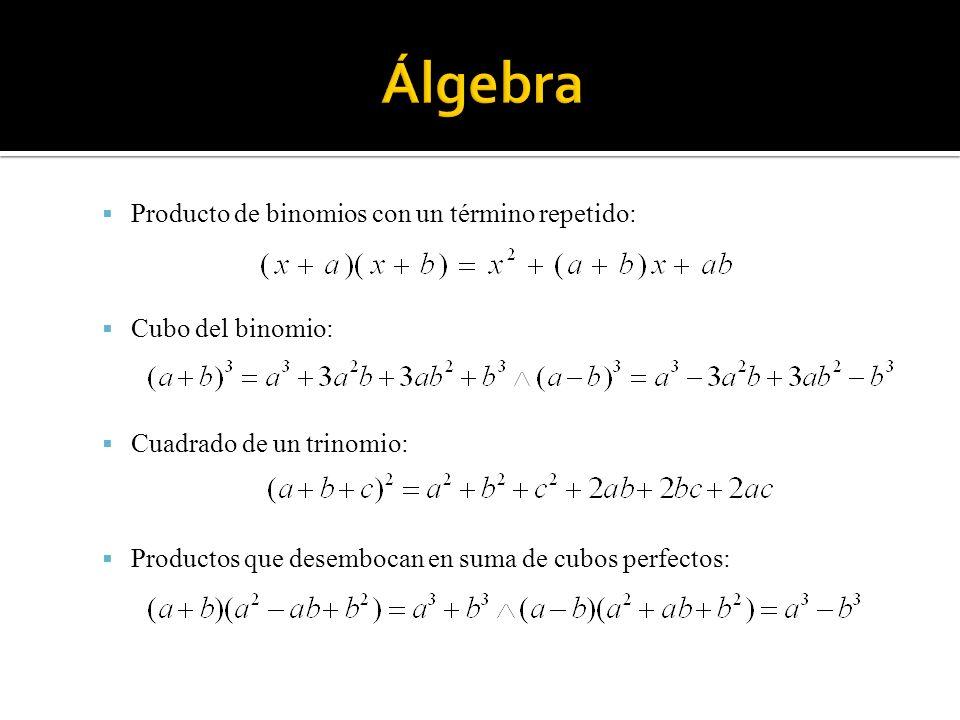 Producto de binomios con un término repetido: Cubo del binomio: Cuadrado de un trinomio: Productos que desembocan en suma de cubos perfectos: