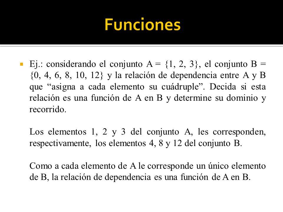 Ej.: considerando el conjunto A = {1, 2, 3}, el conjunto B = {0, 4, 6, 8, 10, 12} y la relación de dependencia entre A y B que asigna a cada elemento