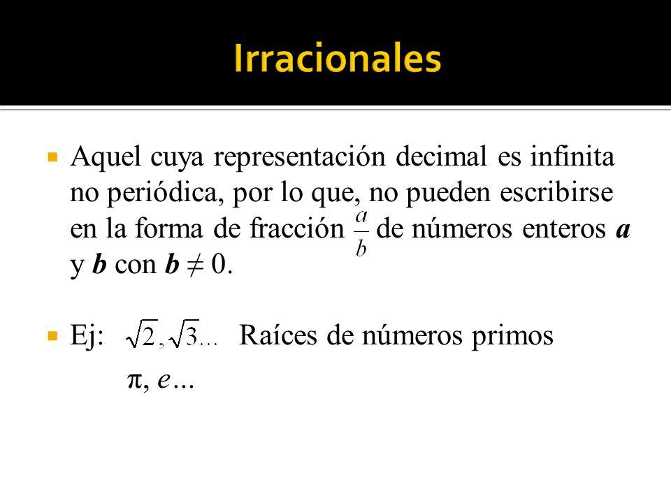 Aquel cuya representación decimal es infinita no periódica, por lo que, no pueden escribirse en la forma de fracción de números enteros a y b con b 0.