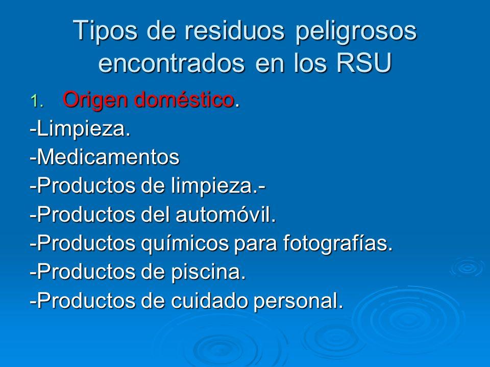 Tipos de residuos peligrosos encontrados en los RSU 1. Origen doméstico. -Limpieza.-Medicamentos -Productos de limpieza.- -Productos del automóvil. -P