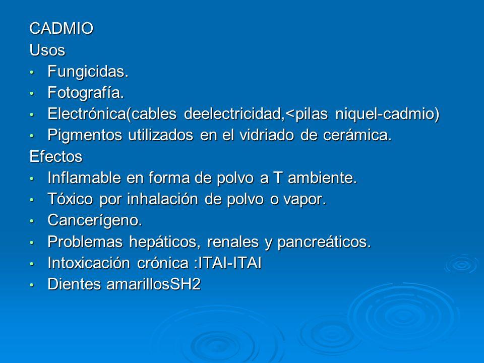 CADMIOUsos Fungicidas. Fungicidas. Fotografía. Fotografía. Electrónica(cables deelectricidad,<pilas niquel-cadmio) Electrónica(cables deelectricidad,<
