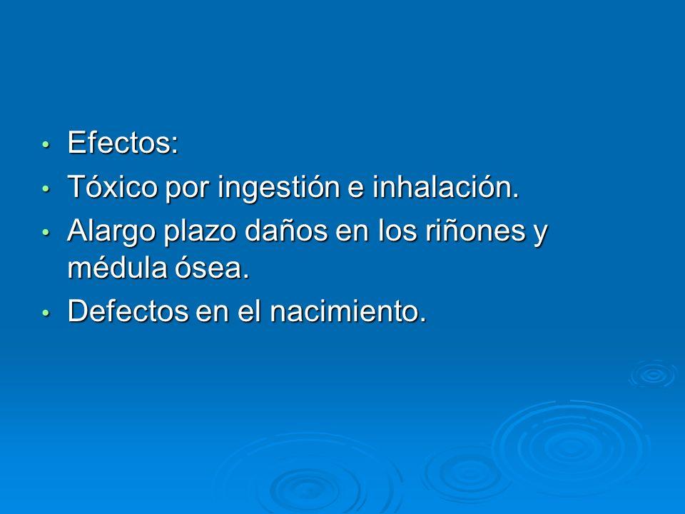 Efectos: Efectos: Tóxico por ingestión e inhalación. Tóxico por ingestión e inhalación. Alargo plazo daños en los riñones y médula ósea. Alargo plazo