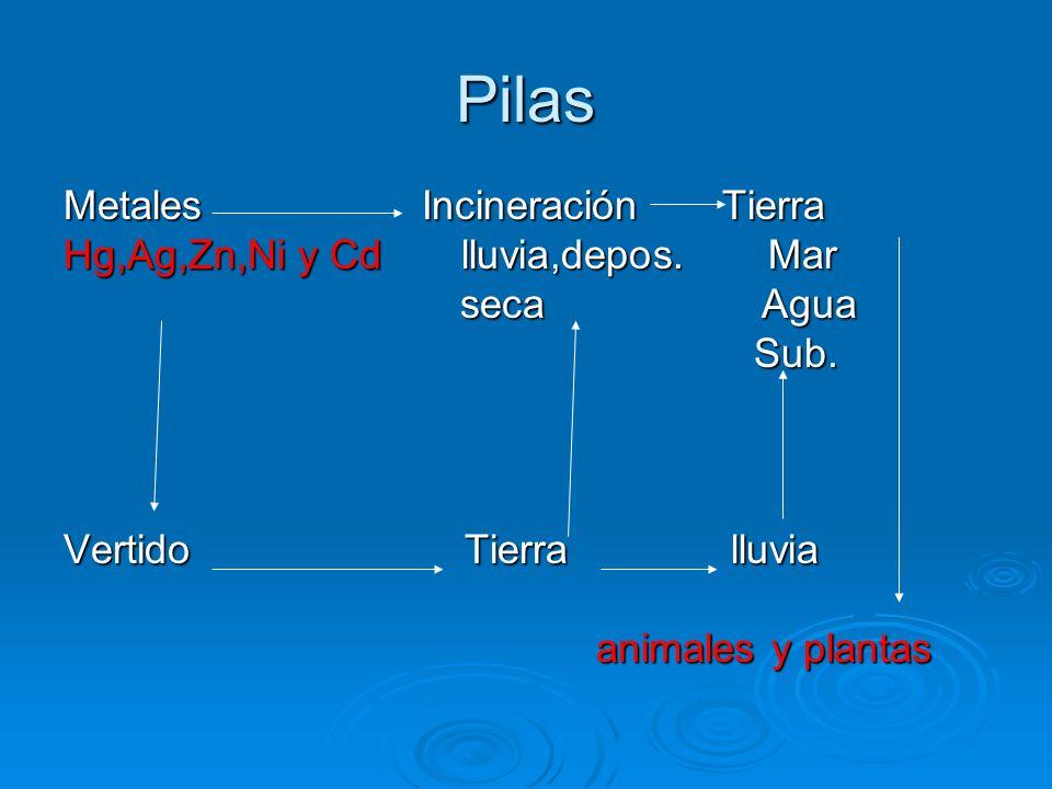 Pilas Metales Incineración Tierra Hg,Ag,Zn,Ni y Cd lluvia,depos. Mar seca Agua seca Agua Sub. Sub. Vertido Tierra lluvia animales y plantas animales y