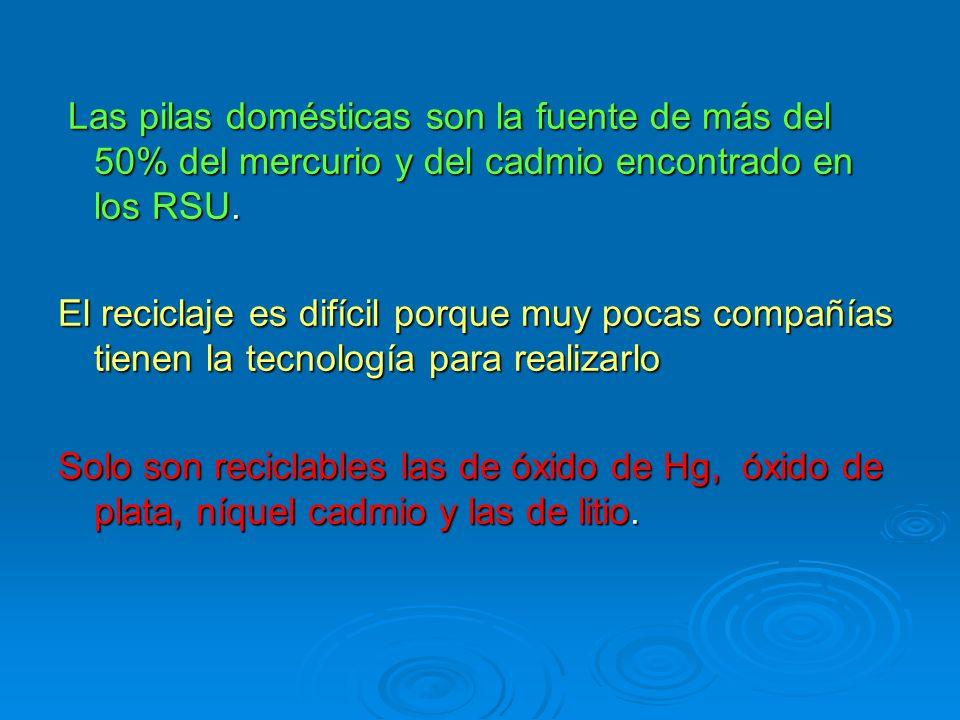 Las pilas domésticas son la fuente de más del 50% del mercurio y del cadmio encontrado en los RSU. Las pilas domésticas son la fuente de más del 50% d