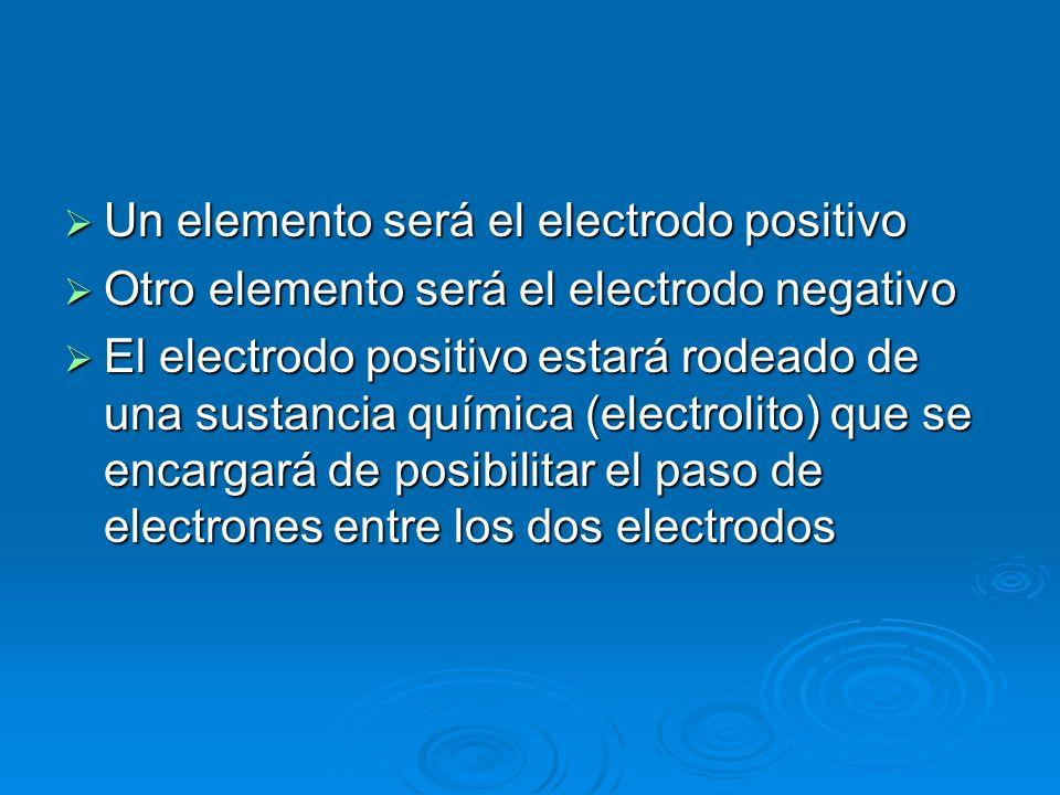Un elemento será el electrodo positivo Un elemento será el electrodo positivo Otro elemento será el electrodo negativo Otro elemento será el electrodo