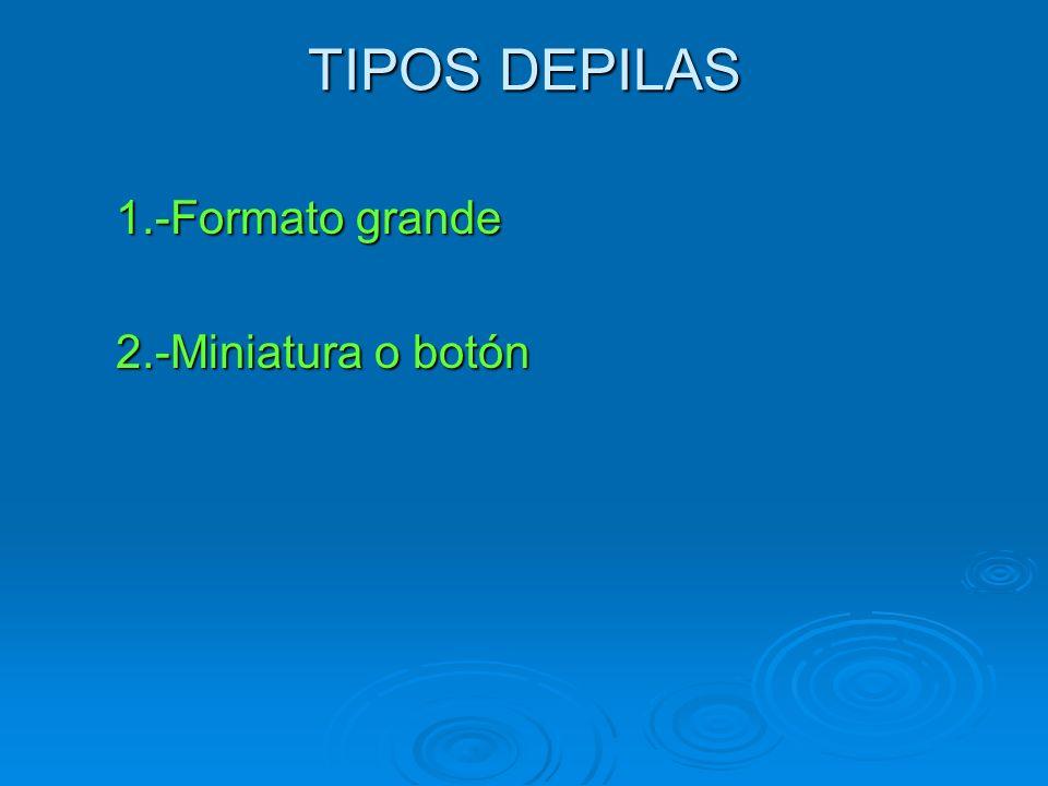 TIPOS DEPILAS 1.-Formato grande 2.-Miniatura o botón