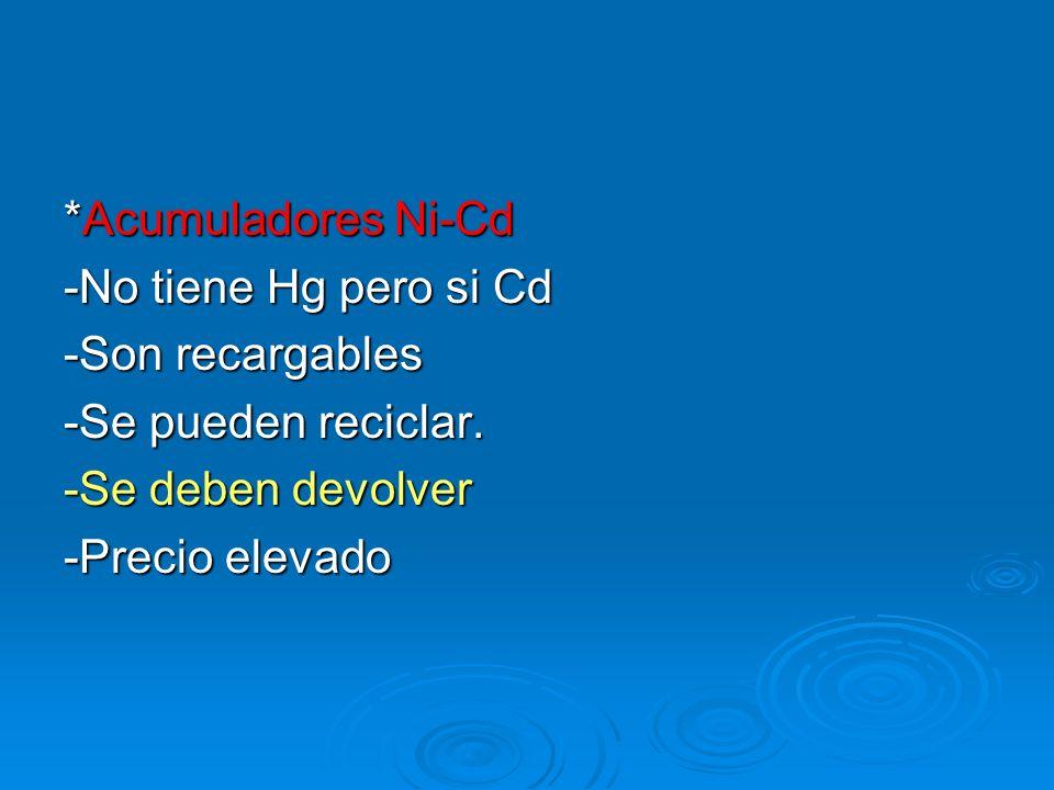 *Acumuladores Ni-Cd -No tiene Hg pero si Cd -Son recargables -Se pueden reciclar. -Se deben devolver -Precio elevado