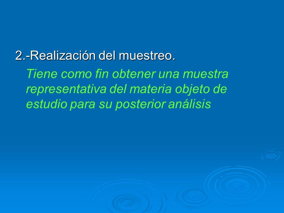 2.-Realización del muestreo. Tiene como fin obtener una muestra representativa del materia objeto de estudio para su posterior análisis