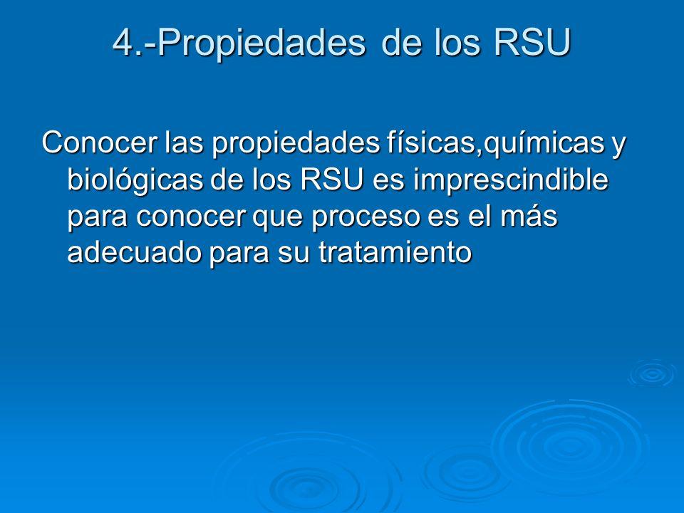 4.-Propiedades de los RSU Conocer las propiedades físicas,químicas y biológicas de los RSU es imprescindible para conocer que proceso es el más adecua