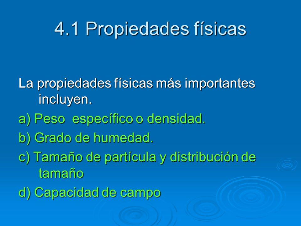 4.1 Propiedades físicas La propiedades físicas más importantes incluyen. a) Peso específico o densidad. b) Grado de humedad. c) Tamaño de partícula y