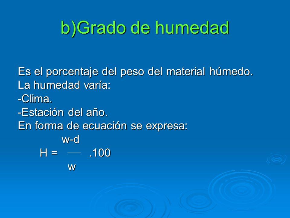 b)Grado de humedad Es el porcentaje del peso del material húmedo. La humedad varía: -Clima. -Estación del año. En forma de ecuación se expresa: w-d w-