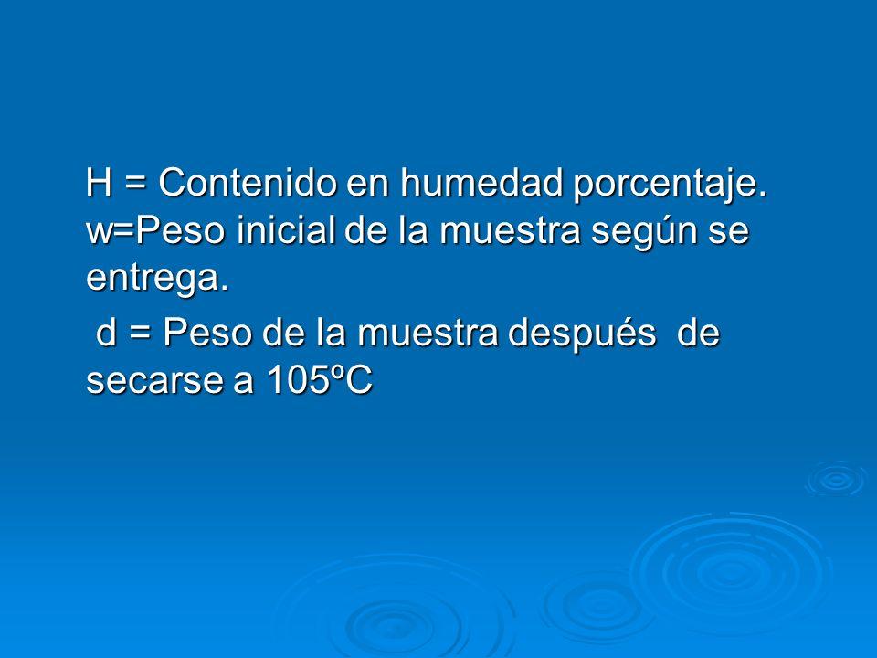H = Contenido en humedad porcentaje. w=Peso inicial de la muestra según se entrega. H = Contenido en humedad porcentaje. w=Peso inicial de la muestra
