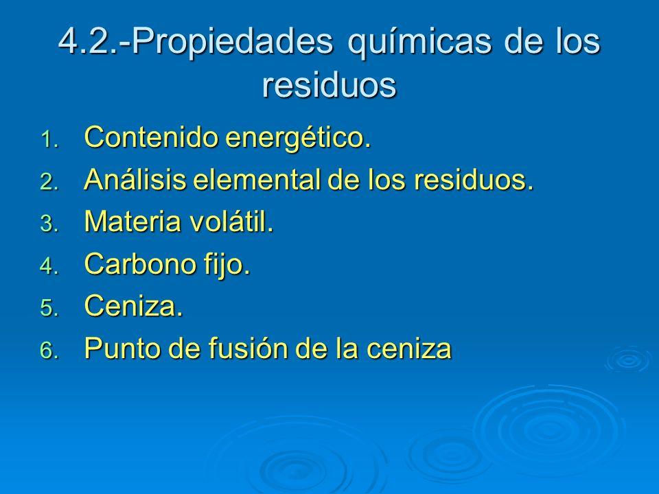 4.2.-Propiedades químicas de los residuos 1. Contenido energético. 2. Análisis elemental de los residuos. 3. Materia volátil. 4. Carbono fijo. 5. Ceni