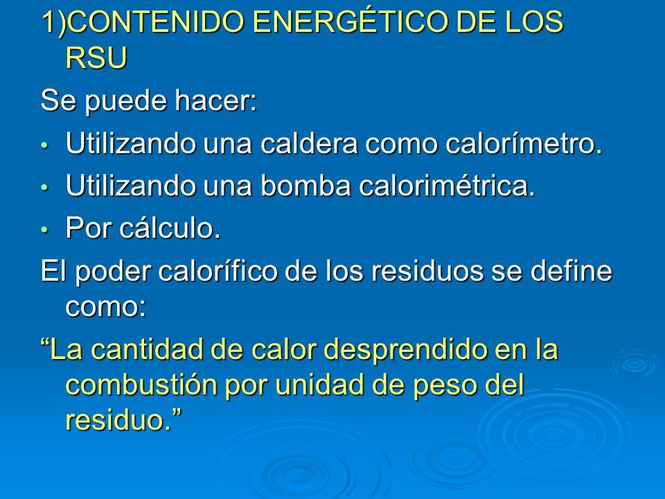 1)CONTENIDO ENERGÉTICO DE LOS RSU Se puede hacer: Utilizando una caldera como calorímetro. Utilizando una caldera como calorímetro. Utilizando una bom
