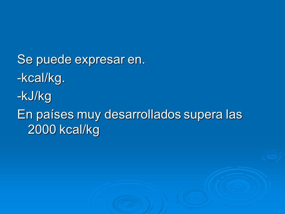 Se puede expresar en. -kcal/kg.-kJ/kg En países muy desarrollados supera las 2000 kcal/kg