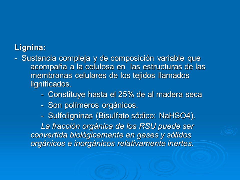 Lignina: - Sustancia compleja y de composición variable que acompaña a la celulosa en las estructuras de las membranas celulares de los tejidos llamad