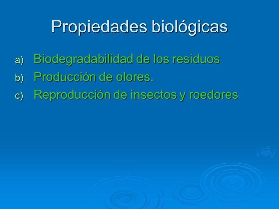 Propiedades biológicas a) Biodegradabilidad de los residuos b) Producción de olores. c) Reproducción de insectos y roedores