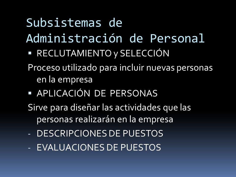 Subsistemas de Administración de Personal RECLUTAMIENTO y SELECCIÓN Proceso utilizado para incluir nuevas personas en la empresa APLICACIÓN DE PERSONA