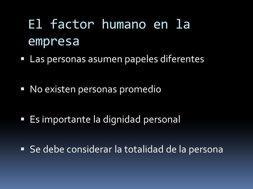El factor humano en la empresa Las personas asumen papeles diferentes No existen personas promedio Es importante la dignidad personal Se debe consider