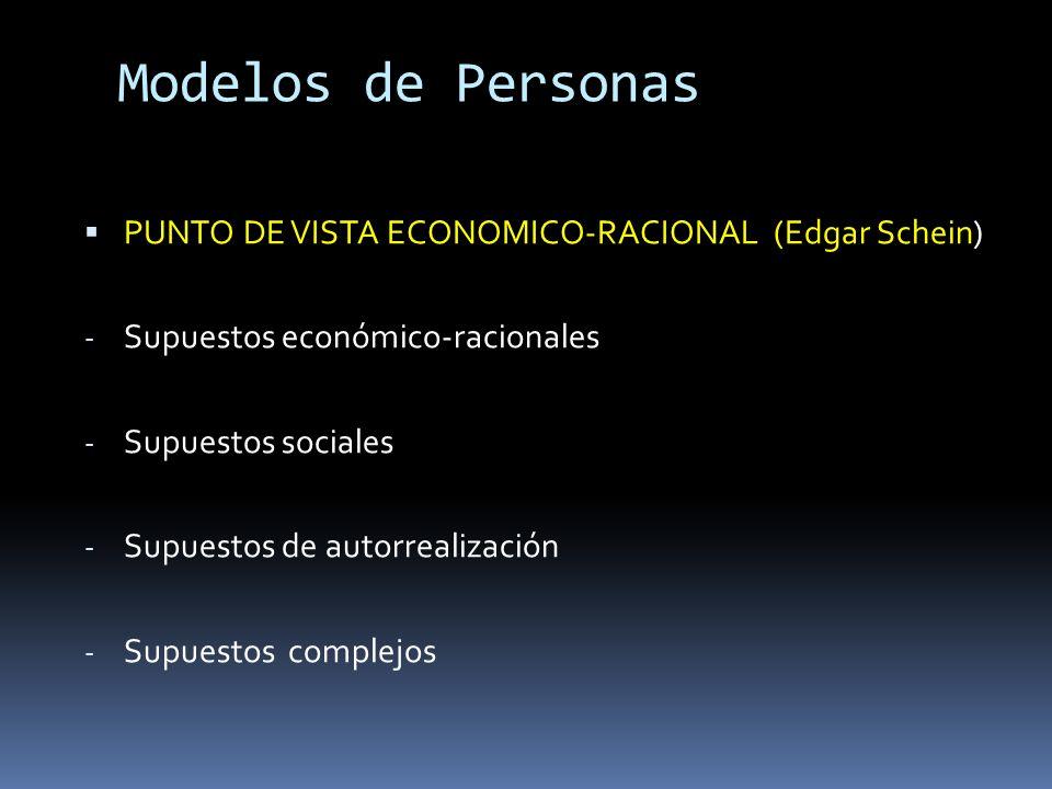 Modelos de Personas PUNTO DE VISTA ECONOMICO-RACIONAL (Edgar Schein) - Supuestos económico-racionales - Supuestos sociales - Supuestos de autorrealiza