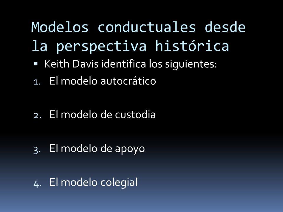 Modelos conductuales desde la perspectiva histórica Keith Davis identifica los siguientes: 1. El modelo autocrático 2. El modelo de custodia 3. El mod