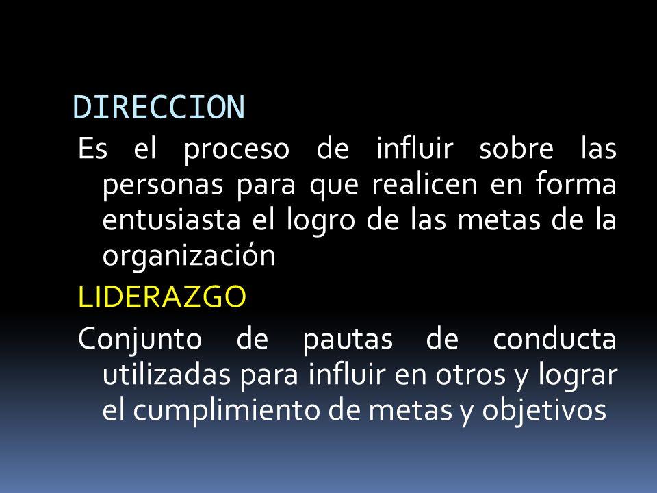 DIRECCION Es el proceso de influir sobre las personas para que realicen en forma entusiasta el logro de las metas de la organización LIDERAZGO Conjunt