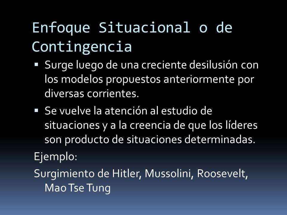 Enfoque Situacional o de Contingencia Surge luego de una creciente desilusión con los modelos propuestos anteriormente por diversas corrientes. Se vue