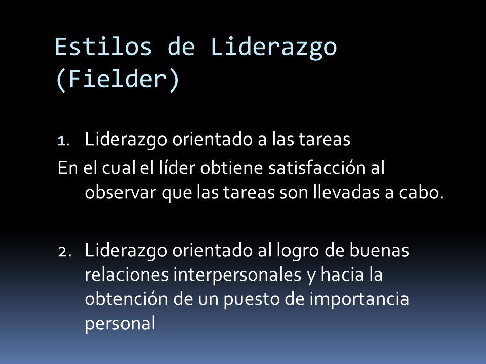 Estilos de Liderazgo (Fielder) 1. Liderazgo orientado a las tareas En el cual el líder obtiene satisfacción al observar que las tareas son llevadas a