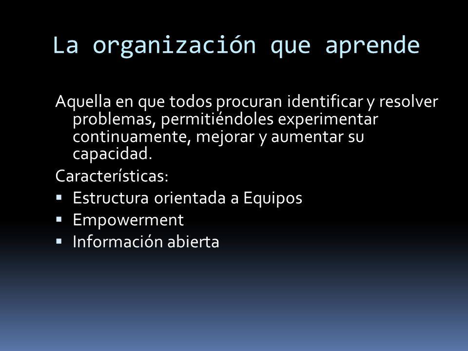 La organización que aprende Aquella en que todos procuran identificar y resolver problemas, permitiéndoles experimentar continuamente, mejorar y aumen
