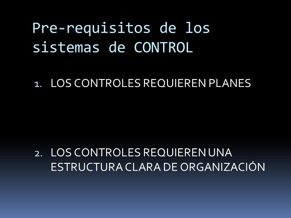 Pre-requisitos de los sistemas de CONTROL 1. LOS CONTROLES REQUIEREN PLANES 2. LOS CONTROLES REQUIEREN UNA ESTRUCTURA CLARA DE ORGANIZACIÓN