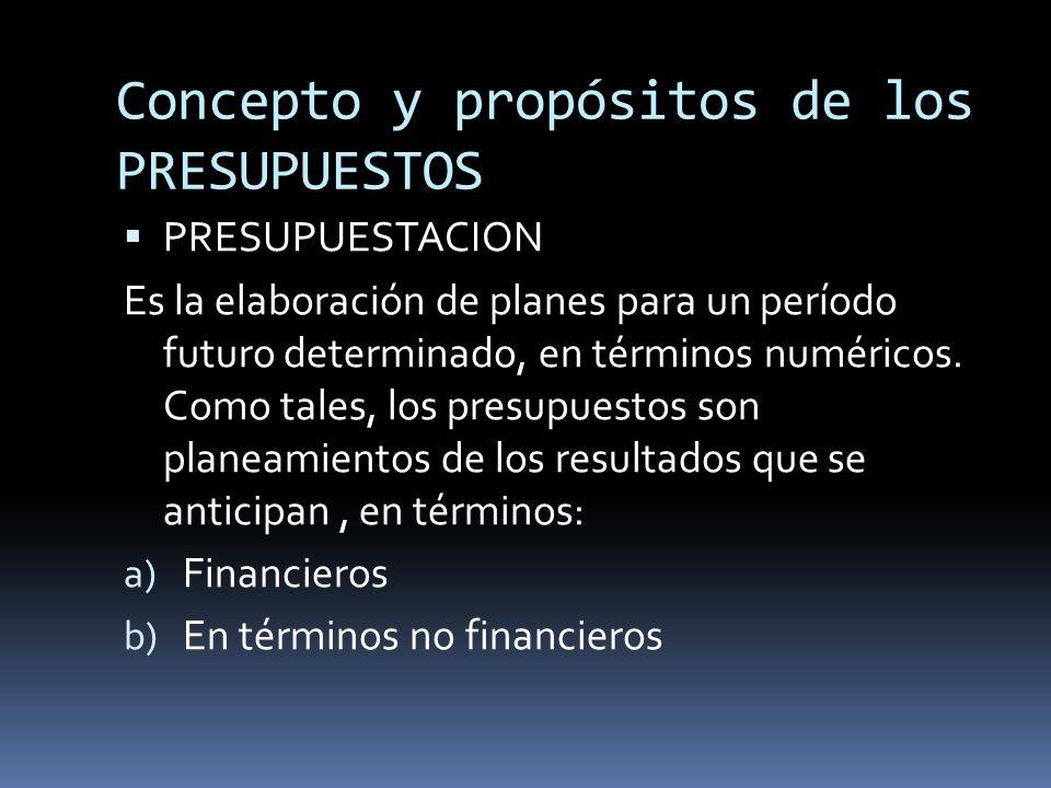 Concepto y propósitos de los PRESUPUESTOS PRESUPUESTACION Es la elaboración de planes para un período futuro determinado, en términos numéricos. Como
