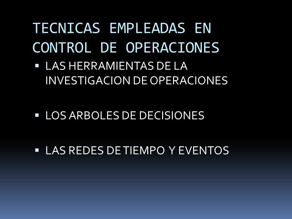 TECNICAS EMPLEADAS EN CONTROL DE OPERACIONES LAS HERRAMIENTAS DE LA INVESTIGACION DE OPERACIONES LOS ARBOLES DE DECISIONES LAS REDES DE TIEMPO Y EVENT