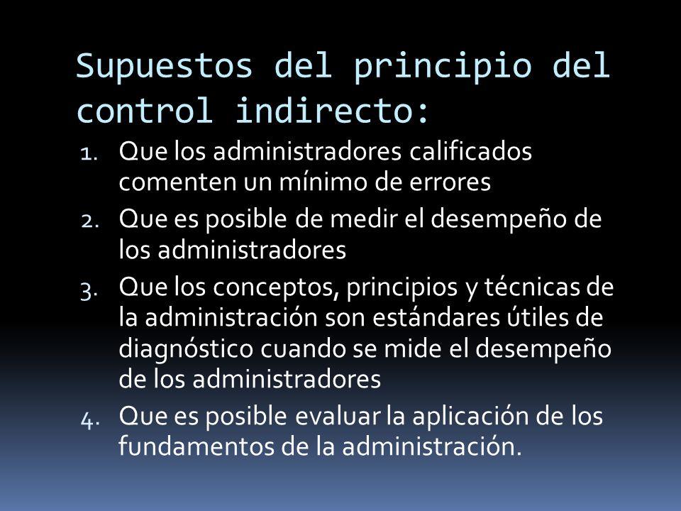 Supuestos del principio del control indirecto: 1. Que los administradores calificados comenten un mínimo de errores 2. Que es posible de medir el dese