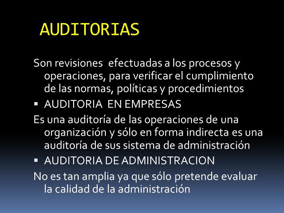 AUDITORIAS Son revisiones efectuadas a los procesos y operaciones, para verificar el cumplimiento de las normas, políticas y procedimientos AUDITORIA