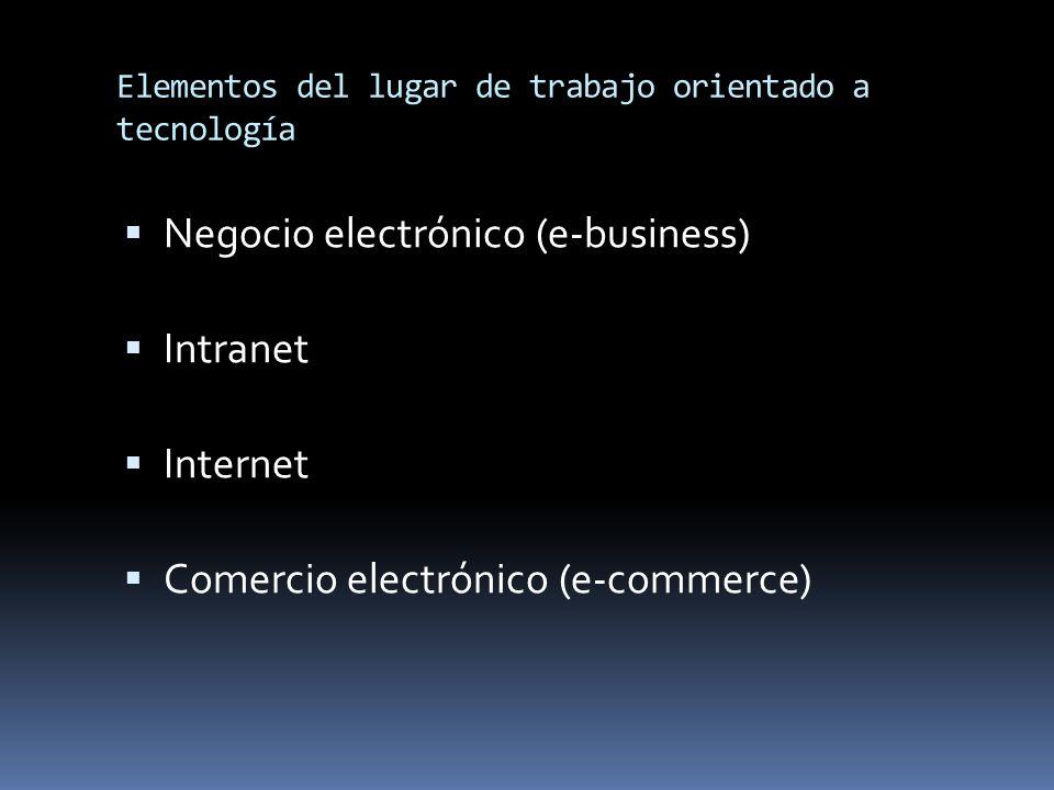 Elementos del lugar de trabajo orientado a tecnología Negocio electrónico (e-business) Intranet Internet Comercio electrónico (e-commerce)